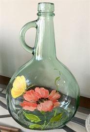 Hand painted vintage glassware/jug