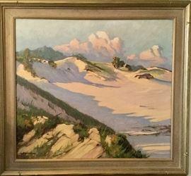 "Carl Hoerman Original Oil of a Saugatuck Beach scene....""Sunset Poetry in Sand"". Measures 38""x35"""