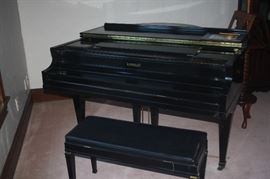 KIMBAL BLACK LACQUER BABY GRAND PIANO