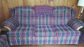 $75   Red plaid sofa