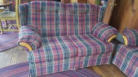 $50   red, plaid loveseat