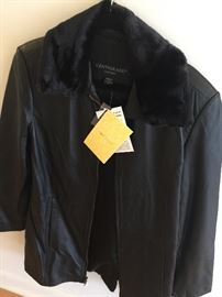 Women's clothing - Centigrade leather jacket from QVC - detachable faux fur collar