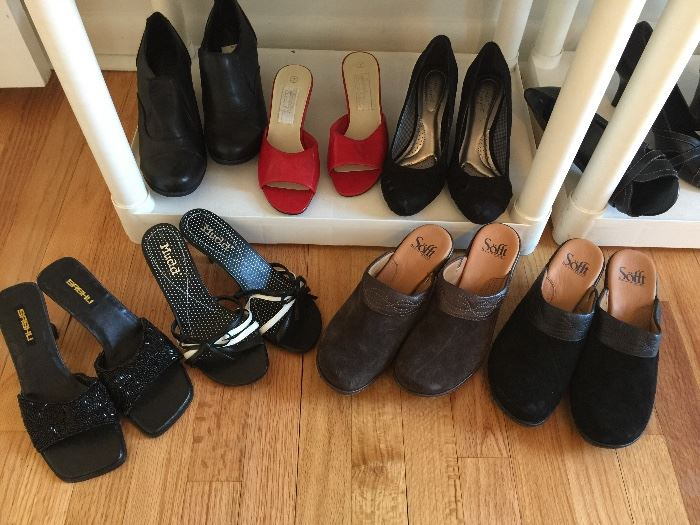 about 80+ pairs of new shoes!  Most are size 6 1/2 - 7 1/2.  Brands include Clarks, Aerosole, Dr. Scholls, Naturalizer and more