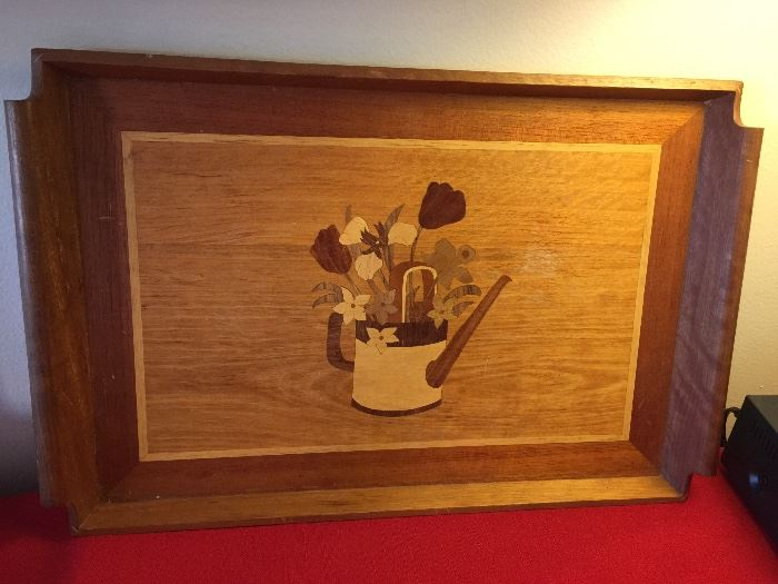 pretty serving tray with wood inlay design