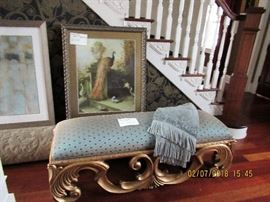 Beautiful gilt upholstered bench and framed artwork, a sculpted area carpet with pad.