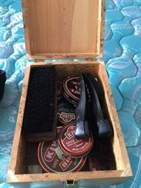 vintage shoe shine kit with supplies
