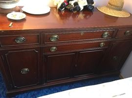 Matching vintage Bernhardt server/buffet cabinet.  Very solid piece.
