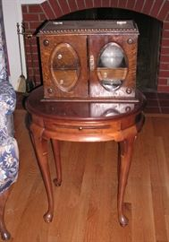 Small tea table with pull out tray; antique English oak pipe/tobacco humidor