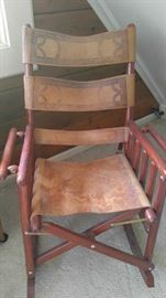 Handmade leather Western rocking chair