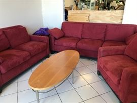 Red microfiber sofa set and Ethan Allen coffee table