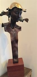 "William Ludwig, sculptor. ""Woman with Polished Helmet IX "" c. 1989"
