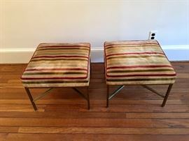 Pair/ MCM ottomans with metal bases