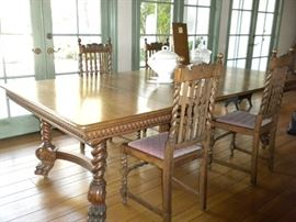 "ANTIQUE ""BARLEY TWIST"" TIGER OAK  DINING TABLE AND CHAIRS"