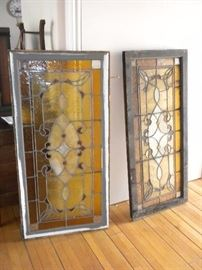 ANTIQUE LEADED GLASS WINDOW PANELS