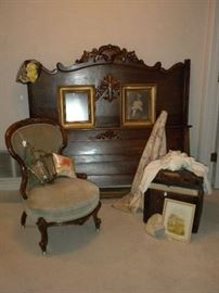 ANTIQUE BED, PARLOR CHAIR, SSMALL STEAMER TRUNK