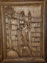"Carving of ""The Bookworm"" by Carl Spitzweg http://www.ctonlineauctions.com/detail.asp?id=678213"