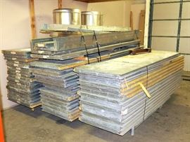 "Paint/Media Blasting Booth Wall Panels, 2"" Thick, Insulated, Marked, Banded To Rolling Carts, Panels Are 9'10""H x 27""W"