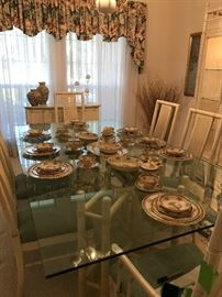 Thomasville Dining Table and 6 chairs, Lenox Blue Tree China