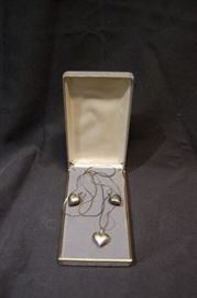 Sterling Puffed Heart Necklace Set