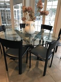 "Crate and Barrel Apex 60"" round glass top dining table $750"