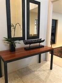 "Entry Console 60"" Wide x 24"" Deep x 29"" High...$350; Pair Room and Board Steel Wall Mirrors  50"" High x 22"" Deep ... $125 each"