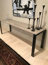 "Side Console Table with Cream Granite Top and Iron base...84"" Wide x 22"" Deep x 29"" High...$650"