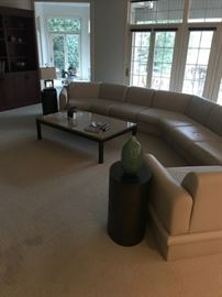 "Huge Beige/Grey Leather Sectional Sofa...measures approx. 10 feet long with 80"" deep at right end and 31"" at left end....$1400"