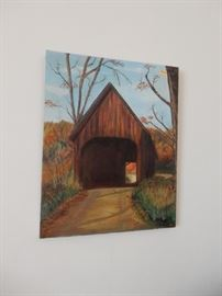 Fold Painting of Covered Bridge