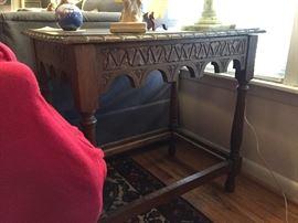 Wonderful English carved oak side table.