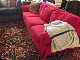 Oh so comfy sofa and loveseat.  The sofa is 7 feet long and has two sets of slipcovers.  The rug does not look this dark in person.....