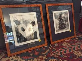 Two pen and ink limited edition drawings by Alex Perrodin, the possum and the kiwi.