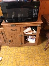 Microwave & Wood Stand