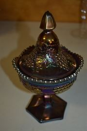 "Rare Carnival Glass Lidded Grape & Cable ""Sweetmeat"" Compote"