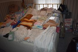 Just some of the many Antique Quilts, Linens, Crochet Items Galore in this Estate!