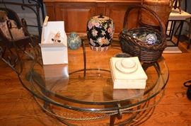 Coffee Table, Chinese Ginger Jars, Handblown Glass Ornaments