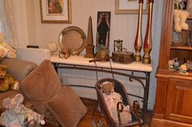 Console / Entrance Table, Brass, Vintage Decorative Sleigh