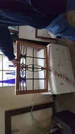 Another beautiful Stained Glass - White chest below - frame to the left