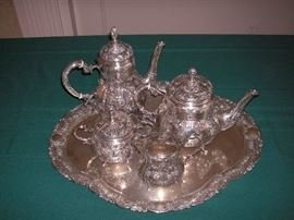 Antique 19th century German 800 silver repousse tea/coffee service
