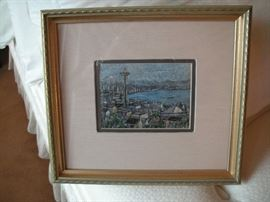 "Lisel Salzer - List artist/local artist; ""Seattle with Everything""; enamel on copper"