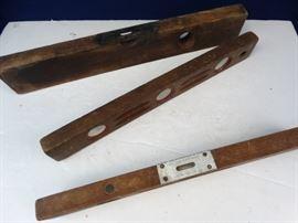 3 Vintage Wood Levels