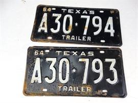 2 TX Trailer License Plates