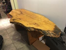 Gorgeous slice of wood, vintage console table