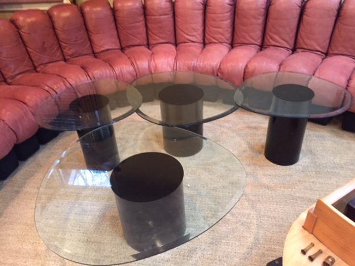 Quartet of glass top tables