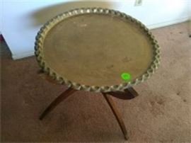 Brass Finish Wood Side Table