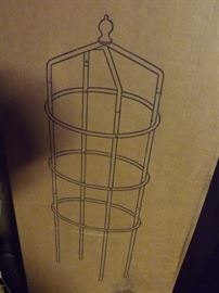 many garden trellis stands in boxes: new/old stock from the warehouse