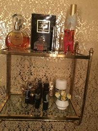 Vintage brass/glass shelf and cologne