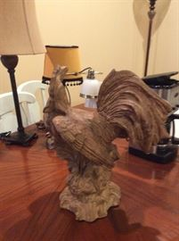 Carved wood rooster