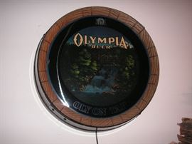 "Vintage Olympia beer sign ""Oly on Tap"""