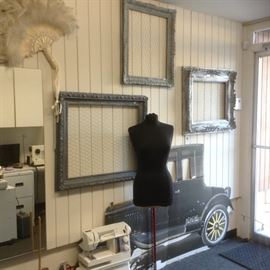 Dress Form, wired picture frames mirrors, decor