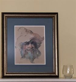 """Endre Szabo (1922-1991, Hungry, So. America, U.S.1960-1991), """"The Stage Caoch Driver"""" Framed Original Ink, Aquarelle & Pastel on Paper, Image 11"""" x 14"""" with Authenticity Documentation"""